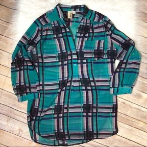 Anthropologie sheer plaid blouse